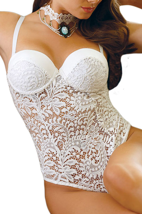 Women <font><b>Sexy</b></font> <font><b>Lingerie</b></font> Alluring Bridal All White Lace Teddy <font><b>Sexy</b></font> Spaghetti Strap <font><b>Push</b></font> <font><b>Up</b></font> Women See Through Babydoll LC32058 image