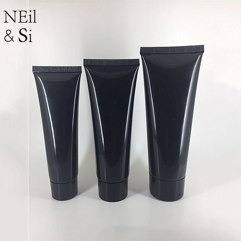 50ml 80ml 100ml Black Plastic Squeeze Bottle Refillable Cosmetic Facial Cleanser Cream Tube Empty Shampoo Lotion Soft Bottles