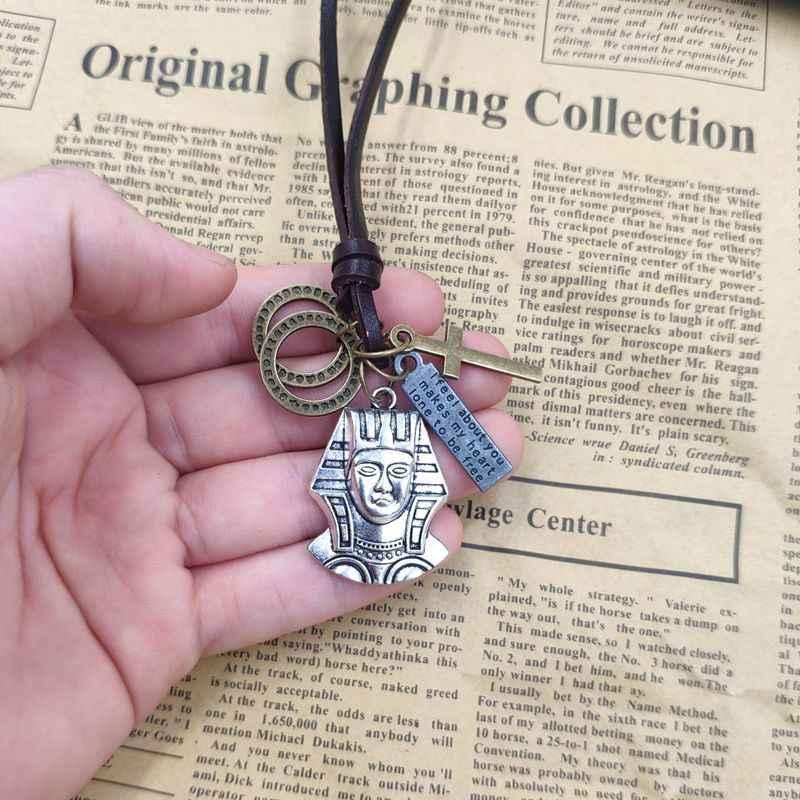 Retro Punk naszyjnik 100% skóry wołowej liny religia symbol egipski faraon brązowy krzyż pętli list Tag mężczyzna prezent urodzinowy AC099-100