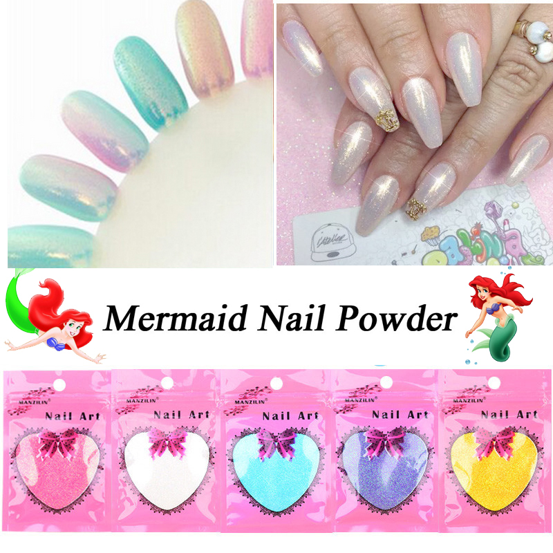 Shinning Mermaid Nail Glitter Powder 10g/bag Mirror Nail Art Powder Dust DIY Nail Chrome Pigment Glitter Manicure Decorations image