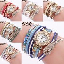 2018 New fashion Hot sale  pearl bracelet  pendant  Women Fashion Casual Analog Quartz Wing Rhinestone Watch Bracelet Watch