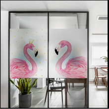 Window Glass stickers Crown Flamingo Frosted Foil Warm Sticker office Bathroom Translucent Opaque