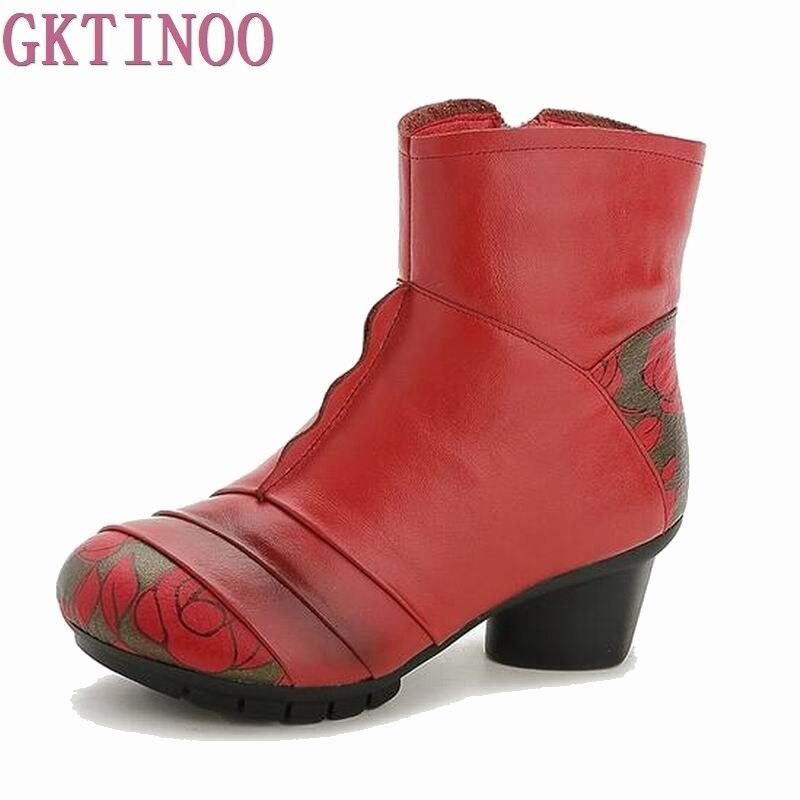 Snow Warm Fashion Women Boots Plush Winter Rubber Round Toe Zipper Ankle Boot Cow Genuine Leather Shoes 2017 cow suede genuine leather female boots all season winter short plush to keep warm ankle boot solid snow boot bota feminina