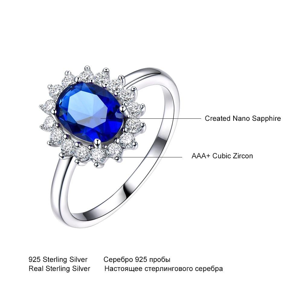 UMCHO luksuzni plavi safir 6 * 8mm princeza Diana prstenovi prave 925 - Fine nakit - Foto 4