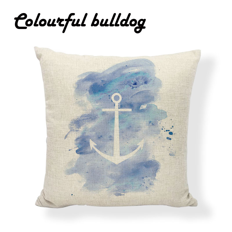 Brand Sea Geometric Red Polka Dot Purple Watercolor Anchor Cushion Cover Abstract Marble Arrow Recliner Square Home Decor Pillow