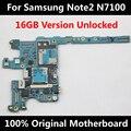 100% oficial original desbloqueado placa base para samsung galaxy note 2 n7100 16 gb mainboard con chips de la placa lógica 100% de trabajo