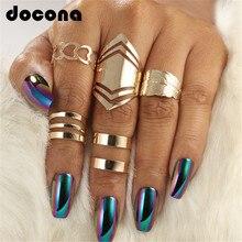 Docona 5 шт./компл. Мода Bague панк Совместное круг среднего пальца набор колец для Для женщин Регулируемый золотыми пустотелыми вечерние кольцо 2707