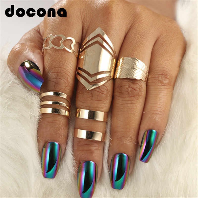 docona 5pcs/set Trendy Bague Punk Joint Circle Mid-Finger Rings Set for Women Adjustable Gold Hollow Party Ring 2707
