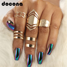 docona 5pcs/set Trendy Bague Punk Joint Circle Mid-Finger Rings Set for Women Adjustable Gold Hollow Party Ring 2707(China)
