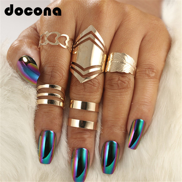 docona 5pcs/set Trendy Bague Punk Joint Circle Mid-Finger Rings Set for Women Ad