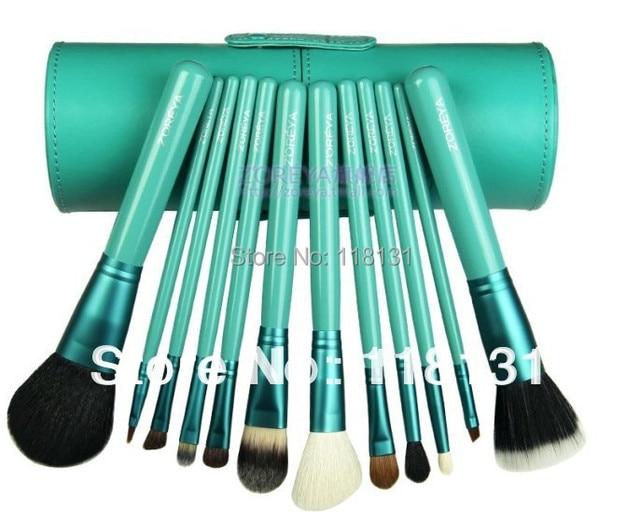 Zoreya 12pieces/kits professional makeup brushes set cylinder loose powder cosmetic pink ,black green,purple.brush high quality