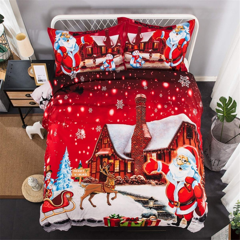 Christmas Quilt Cover Bedding Set Twin Snowflake Reindeer Duvet Cover Set with Pillowcase Comforter Duvet Cover Set