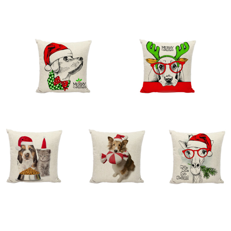 Happy New Year Animal Cushion Cover Christmas Hat Dog Cat Bunny Linen Pillow Case Home Kids New Year Room Sofa Chair Decoration