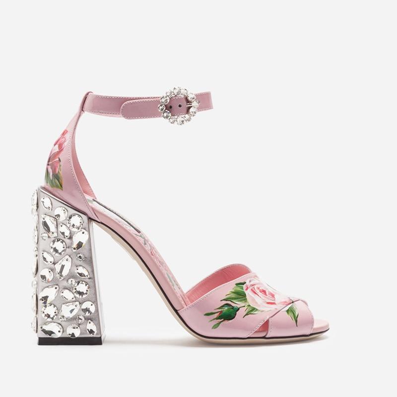 Woman Shoes Crystal Metallic Heel Sapato Feminino Flower Pattern Pink Chic Runway Star Brand Shoes Woman Stiletto Ankle Strap stiletto metallic ankle strap heels