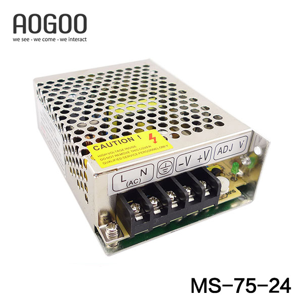 Mini-size 75W 24V  3.2A Switch Mode LED Light Devices Switching Power Supply AC-DC PSU 100/110/220/230V MS-75-24 mini size 50w 36v 1 4a switch mode led light devices switching power supply ac dc psu 100 110 220 230v ms 50 36