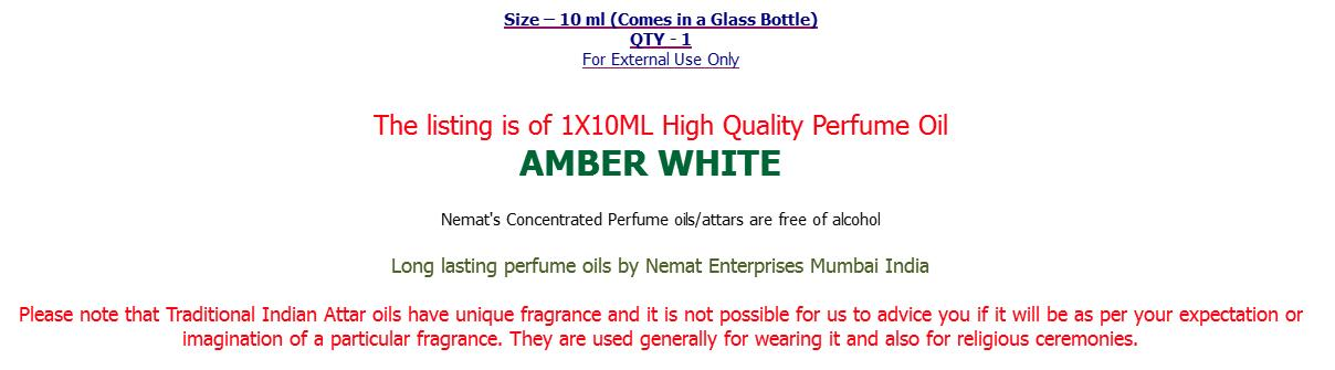 AMBER WHITE Indian Perfume Oil Attar 10 ml High Quality Free of Alcohol by Nemat Free Ship