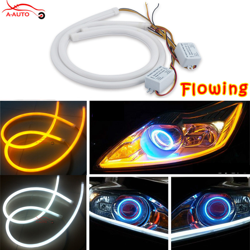 2 x Audi Style 60cm Car Auto Amber White Sequential Flow Strip LED Flexible DRL Headlight Turn Signal Switchback Light Lamp