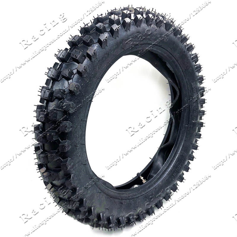 Off Road Tire 90/100-14 with Inner Tube 90/100-14 for Dirt Pit Bike Motocross Off Road Motorcycle 14 inch Rear Wheel image