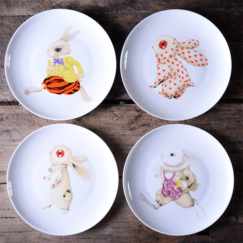 Italian designer Alice in wonderland dinner platesdelicate bone China cartoon rabbit dishes and dessert platesChristmas gift-in Dishes u0026 Plates from Home ... & Italian designer Alice in wonderland dinner platesdelicate bone ...