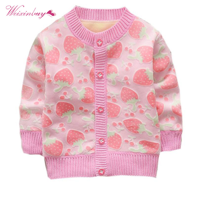 7be6c189f WEIXINBUY Kids Girl Sweater Knitted Cotton Sweaters Coat Cardigans ...