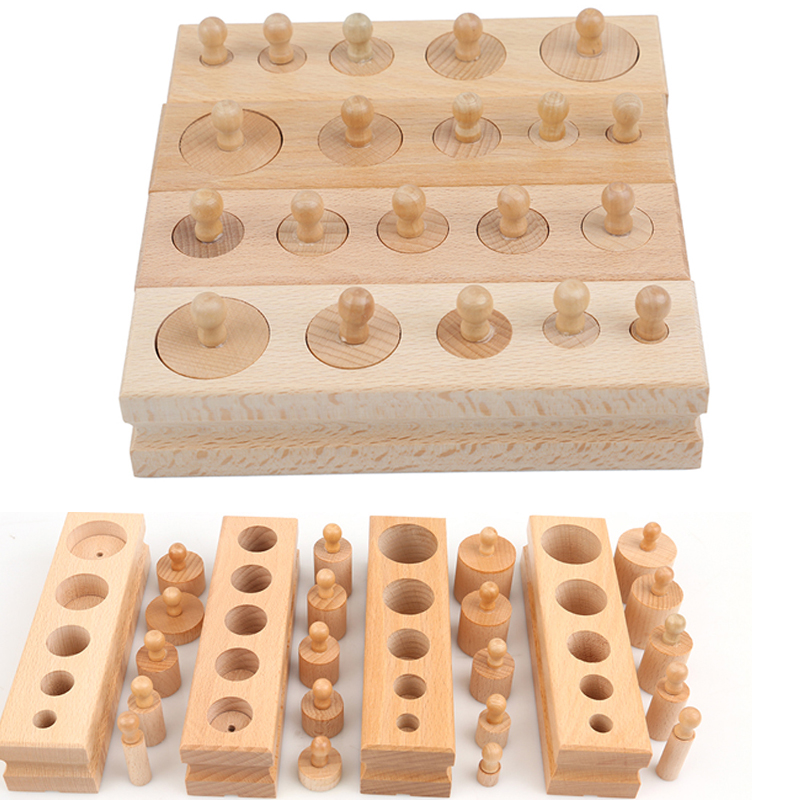 Wooden Toys Puzzle Montessori Educational Cylinder Socket Toy Childern Development Practice Senses Puzzle Math Brain Teaser Kids