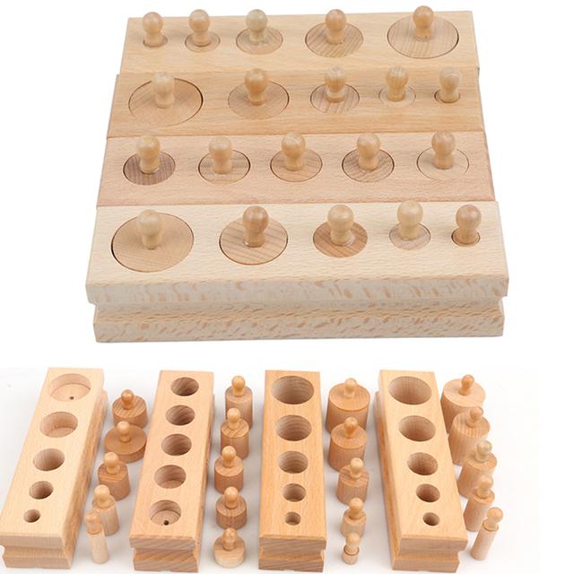 Children Math Brain Teaser Early Development Sensory Practice  Montessori Educational Cylinder Socket Wooden Puzzle Toys