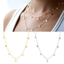 2018 LNRRABC 1PC Hot Euramerican Golden Silvery Alloy Chain Copper Paillettes Women Lady Girl Trendy Necklace DIY Wearing Style