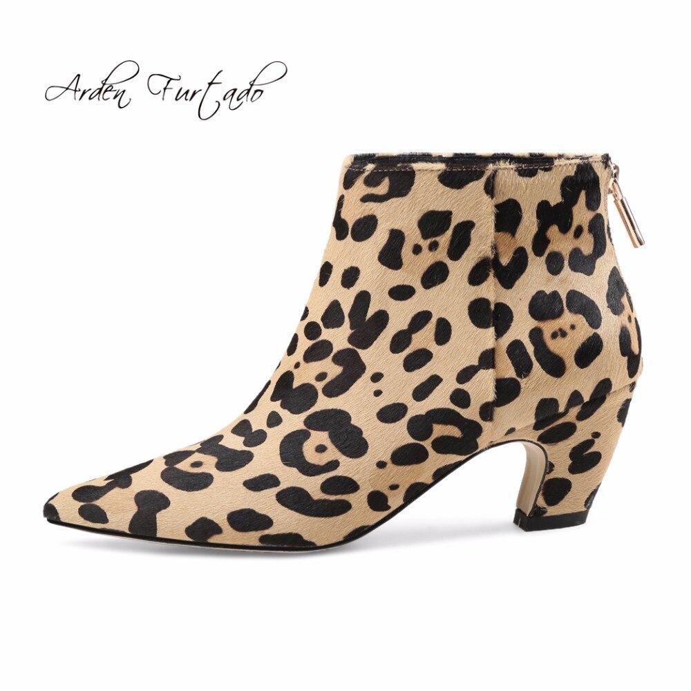 Invierno Black Leopardo Estilo Botas Tobillo Sexy 2018 Punta Arden Zapatos Furtado Crin Nuevo Puntiaguda Moda Extraños Tacones Cremallera Mujer Para leopard HOYwYqx5I