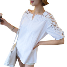 2017 Summer Autumn White Lace Blouse Plus Size 5XL Women Tops Hollow Out Casual Loose Blouses Vintage Ladies Shirts Blusas AB332