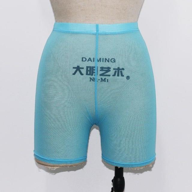 High Waist  See Through Neon Mesh Swim Shorts Cover Up 7