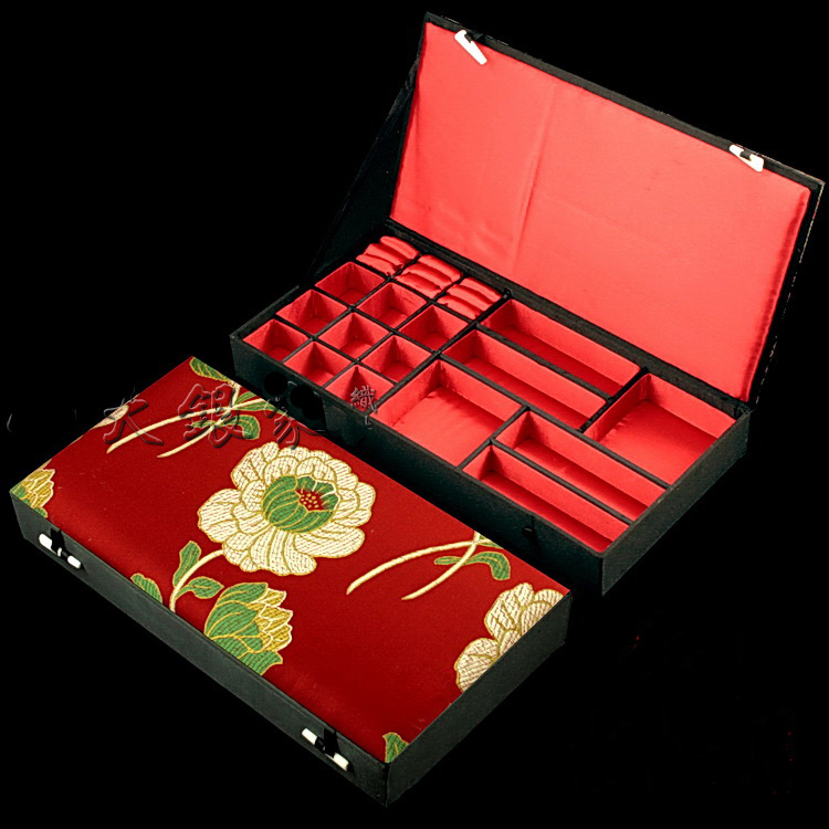 Boutique Multi Grid Jewelry Storage Case Wedding Gift Silk Brocade Multi Ring Earrings Bracelet Necklace Decorative Boxes in Jewelry Packaging Display from Jewelry Accessories