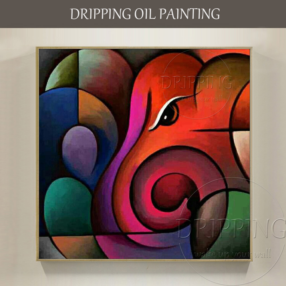 Professional Artist Hand Painted High Quality Abstract: High Quality Wall Art Painting Abstract Ganesh Oil