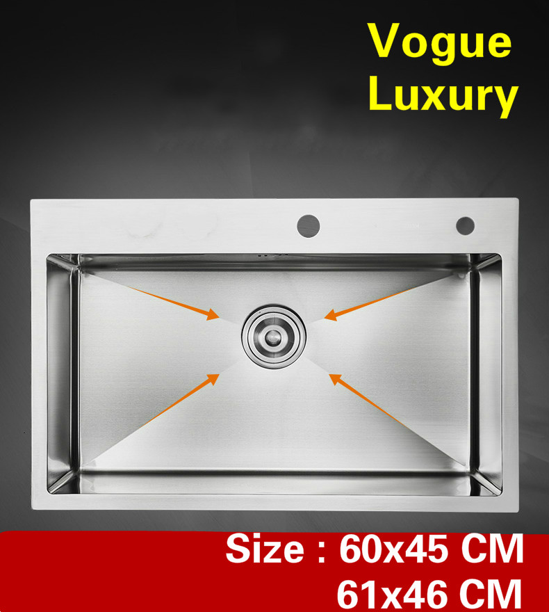 Free shipping Apartment kitchen manual sink single trough do the dishes luxury 304 stainless steel hot sell 600x450/610x460 MMFree shipping Apartment kitchen manual sink single trough do the dishes luxury 304 stainless steel hot sell 600x450/610x460 MM