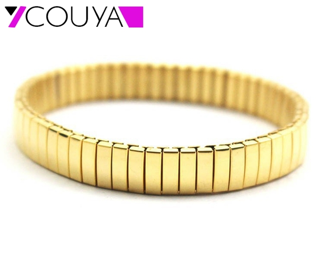 2017 Fashion 316l Stainless Steel Gold Color Stretch Bracelets For Men And Women Jewelry High Quality