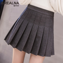 Женская юбка с высокой талией серого и черного цвета, осень, консервативный стиль, однотонная плиссированная юбка для школьниц, повседневные Мини юбки трапециевидной формы, Saia Faldas