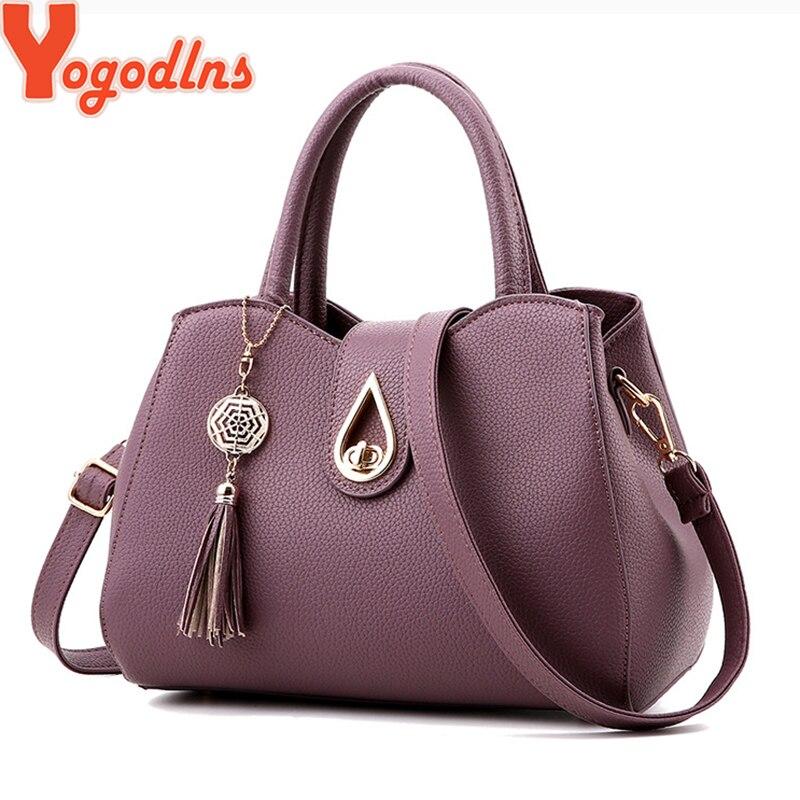 Yogodlns Large Capasity Leather Bag For Women Simple Temperament Handbag Tassel Crossbody Bags Shoulder Bags