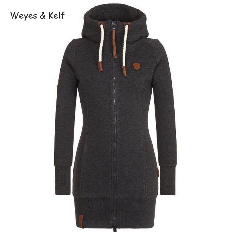 Weyes & Kelf S-5xl Plus Size Hooded Zip-up Long Sleeved Hoodies Women 2018 Zipper Flim Sold Sweatshirt Women Hoodie Kpop
