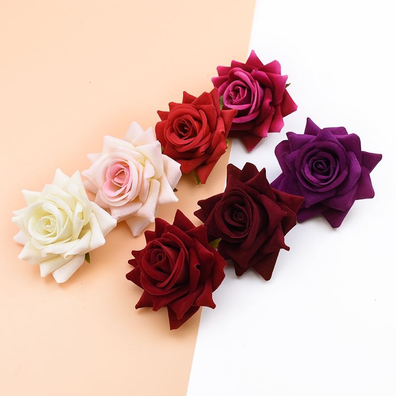 10PCS Silk Red Roses Bridal Accessories Clearance Artificial Flowers for Home Wedding Decoration Diy A Cap Gifts Box Scrapbook