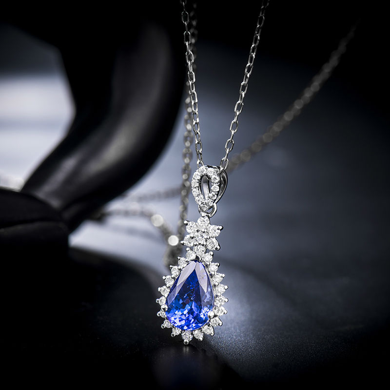 146ct aaa natural tanzanite pendants pear shape 18k white gold 146ct aaa natural tanzanite pendants pear shape 18k white gold diamond 750 gold pendant luxury tanzanite jewelry lj14d113 in pendants from jewelry aloadofball Images