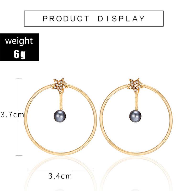 Tocona Tiny Crystal Star Gray Pearl Hollow Circle Drop Dangle Earring for Women Metal Geometric Piercing Earrings Brincos 6990