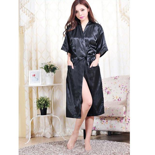 Mulheres negras Chineses Rayon Robe Lingerie Sexy Salão Quimono de Verão Sleepwear camisola Plus Size S M L XL XXL XXXL 160406