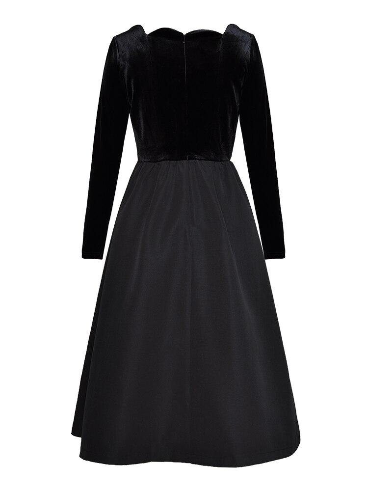 Nouveau Couleur Printemps Bal De Robe Seule Noir La Robes Velours Longues D'une Plus Arrivé Taille Piste Pièce Manches Vintage Patchwork q0dfwfX