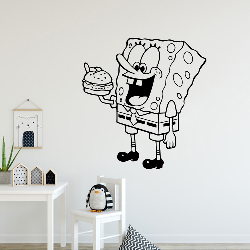 Us 3 48 18 Off Free Shipping Cute Spongebob Vinyl Wall Sticker Home Decor For Bedroom Kids Room Decoration Sticker Mural Wall Decals In Wall
