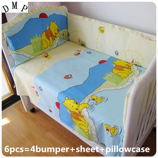 Promotion! 6pcs 100% Cotton Kid Baby Children Bedding Set Product Infant Cartoon(bumpers+sheet+pillow cover) cartoon kid supercharged