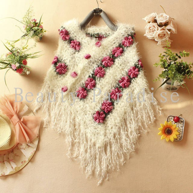 Handmade Crochet Sweaters 2017 Autumn Women Mohair Rose Floral Hollow Out  Batwing Tassel Wrap Swing Cardigan femininas 5086
