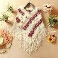 Hechos a mano del ganchillo suéteres 2016 mujeres del resorte Mohair rosa Floral Hollow Out Batwing de la borla Wrap columpio Cardigan femeninas 5086