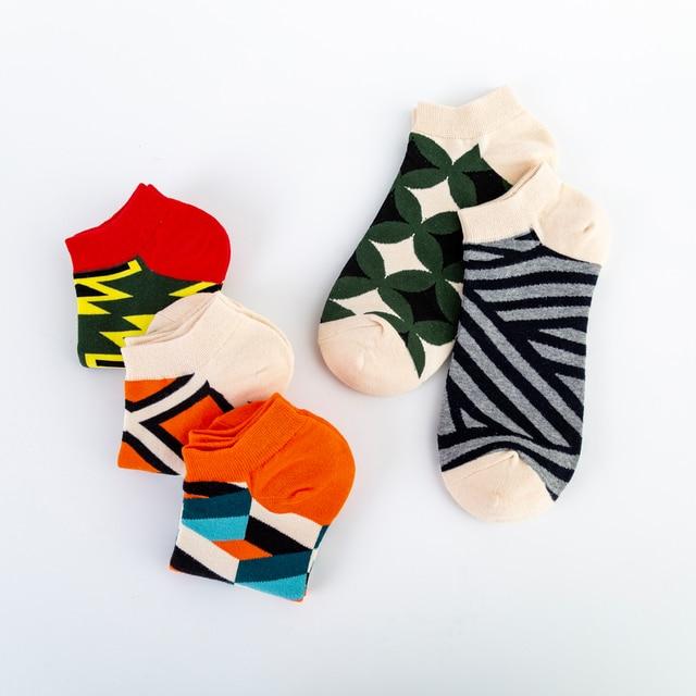 Jhouson High Quality Men's Casual Novelty Socks New 2019 Summer Ankle Socks Combed Cotton Plaid Striped Dress Boat Socks 5