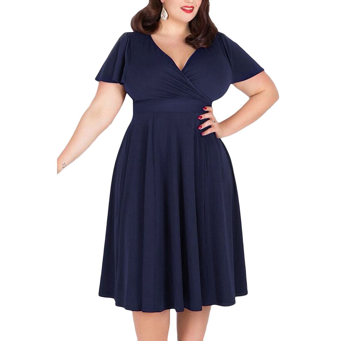 Top Sell Womens Solid Short Sleeve V-neck Stretchy Casual Midi Plus Size Dress