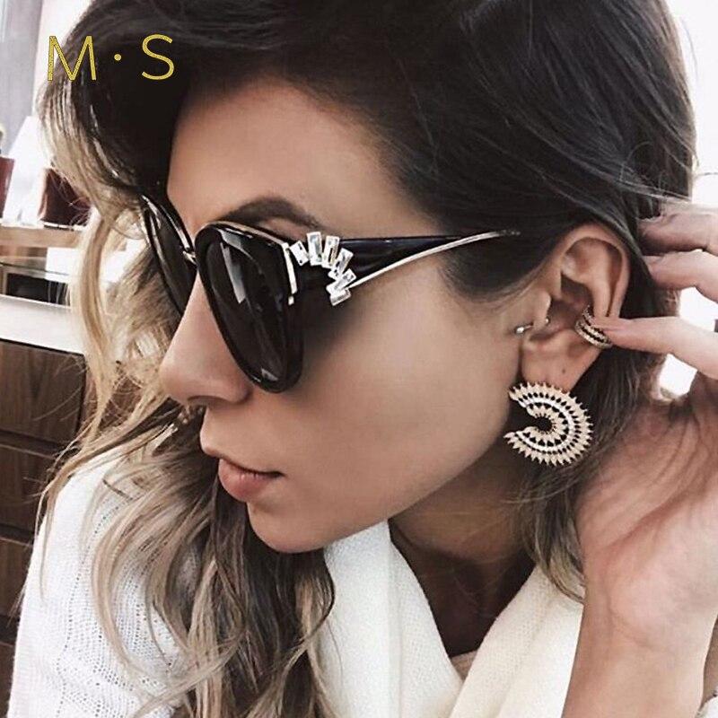 MS 2018 Women Luxury Decoration Classic Eyewear Female Sunglasses Cat Eye Brand Designer Sunglasses Fashion Sun Glasses