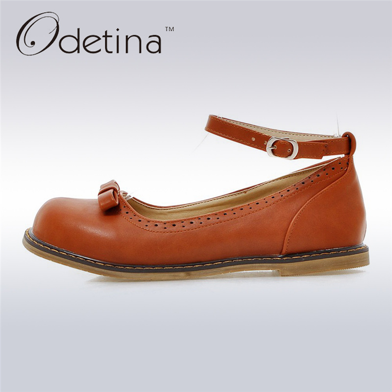 Odetina 2017 New Fashion Mary Jane Flat Shoes for Women Buckle Ankle Strap Flats Bow Tie Ladies Casual Shoes Cute Big Size 34-43 wi fi точка доступа tp link td w8961n white